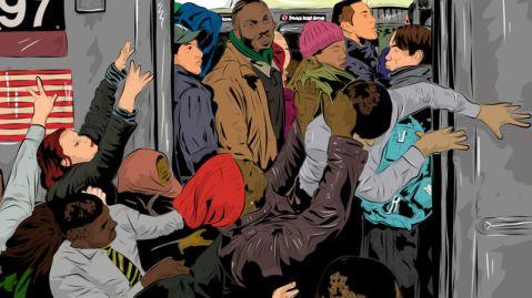 NYC subway crowded